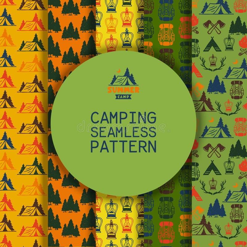 Campa vektorillustration för utomhus- aktiviteter Campa plats - husvagn, campa stolar, brandställe, filtar, träd, fåglar stock illustrationer