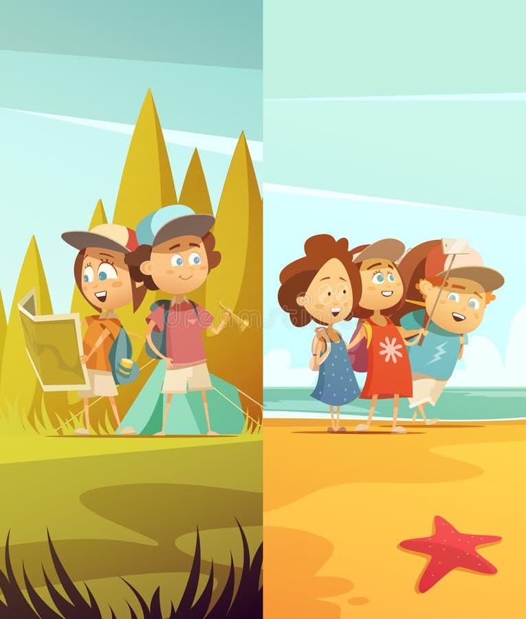 Campa vertikal baneruppsättning för ungar stock illustrationer