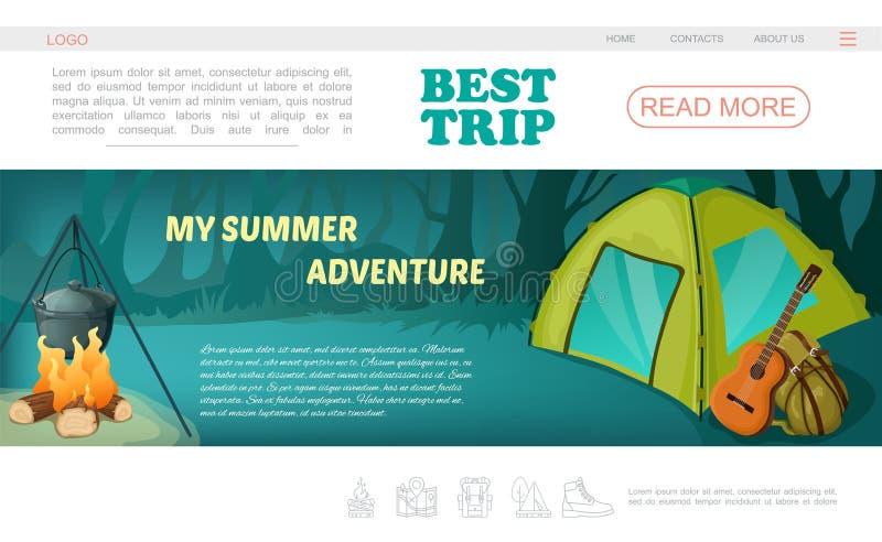 Campa webbsidamall för tecknad film stock illustrationer