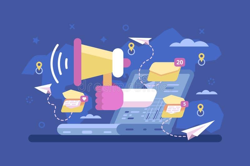 Campagna di promozione di strategia di marketing della posta royalty illustrazione gratis