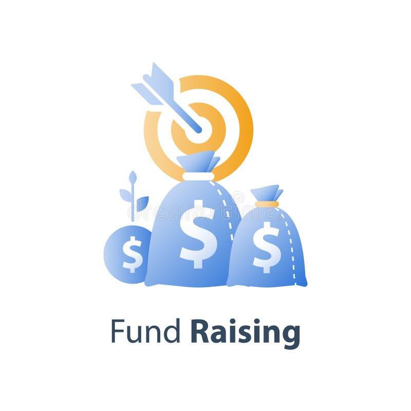 Campagna di raccolta di fondi, concetto del hedge fund, idea di investimento, strategia finanziaria, obiettivo di aumento del red royalty illustrazione gratis