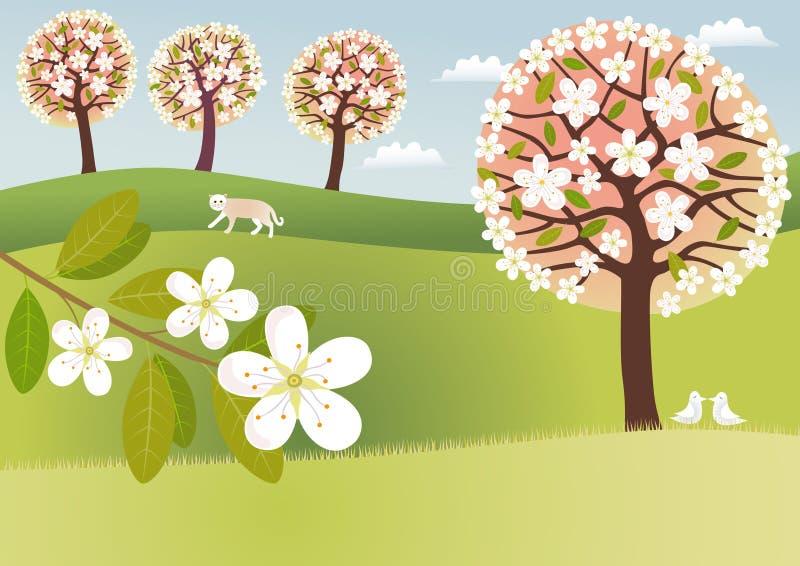 Campagna in fiore royalty illustrazione gratis