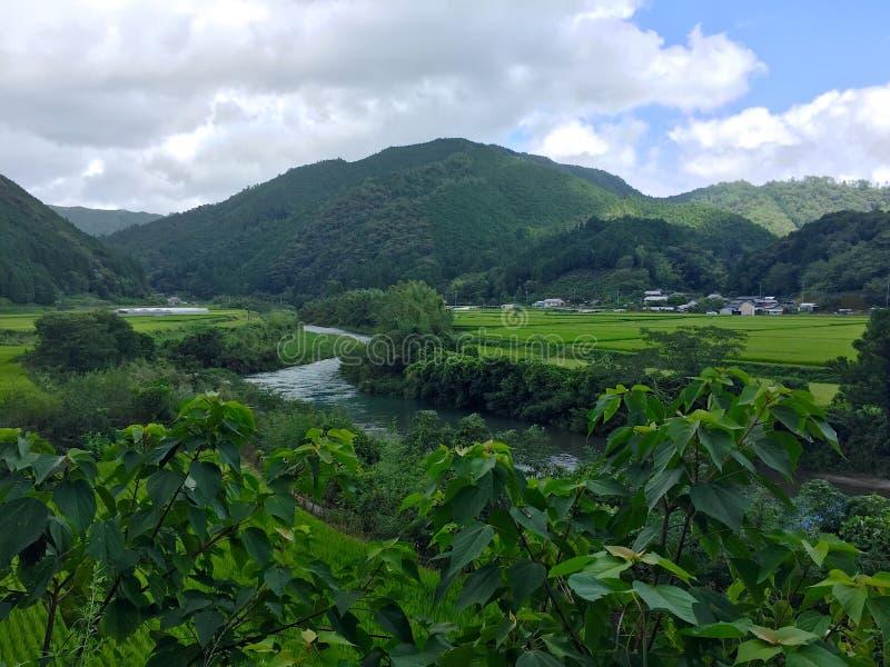Campagna giapponese tipica di area di Nakatosa sull'isola di Shinkoku, Giappone fotografia stock