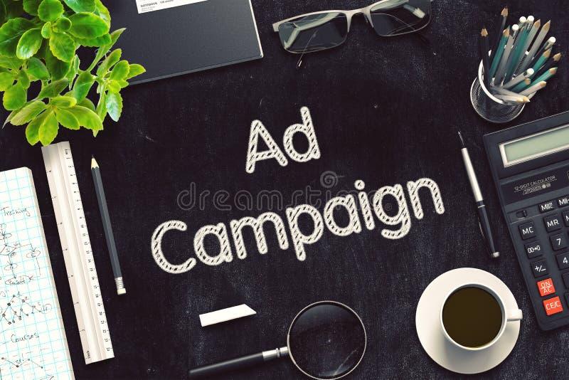 Campagna pubblicitaria scritta a mano sulla lavagna nera rappresentazione 3d immagini stock libere da diritti