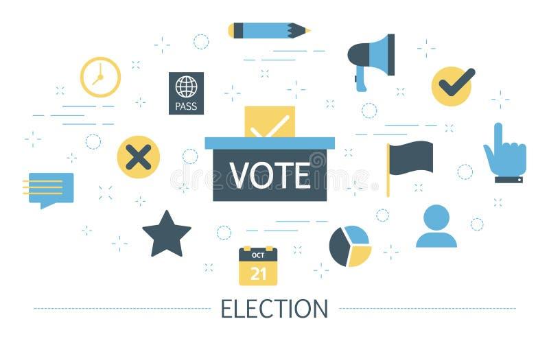 Campagne électorale Les gens votent pour le candidat illustration libre de droits