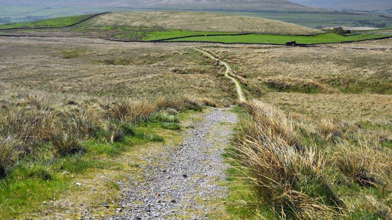 Campagne accidentée anglaise : sentier piéton, zones herbeuses