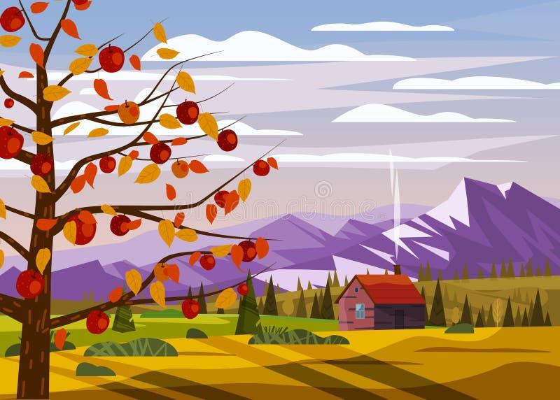 Campagne d'automne paysage rural paysage de pommiers paysage campagne de récolte de fruits saison de récolte de forêt ferme de l' illustration stock