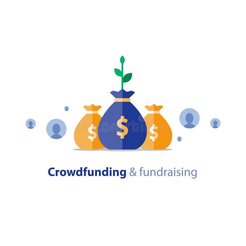 Campagne de collecte de fonds, concept crowdfunding, donation de charité, illustration de vecteur illustration de vecteur