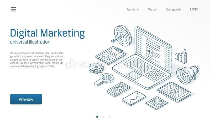 Campagne de marketing de Digital, illustration au trait isométrique moderne optimisation de seo Icône dessinée par croquis d'affa illustration de vecteur