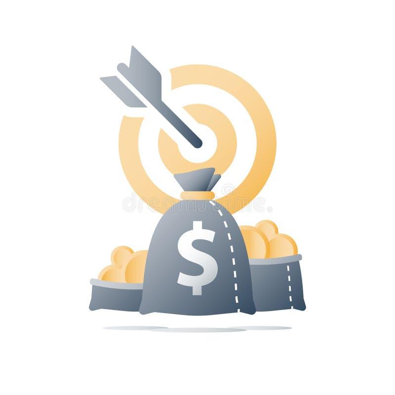 Campagne de mobilisation de fonds, concept de fonds de couverture, id?e d'investissement, strat?gie financi?re, cible d'augmentat illustration de vecteur