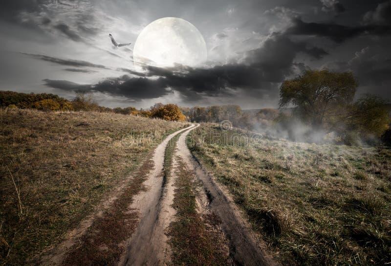 Campagne et lune photo libre de droits