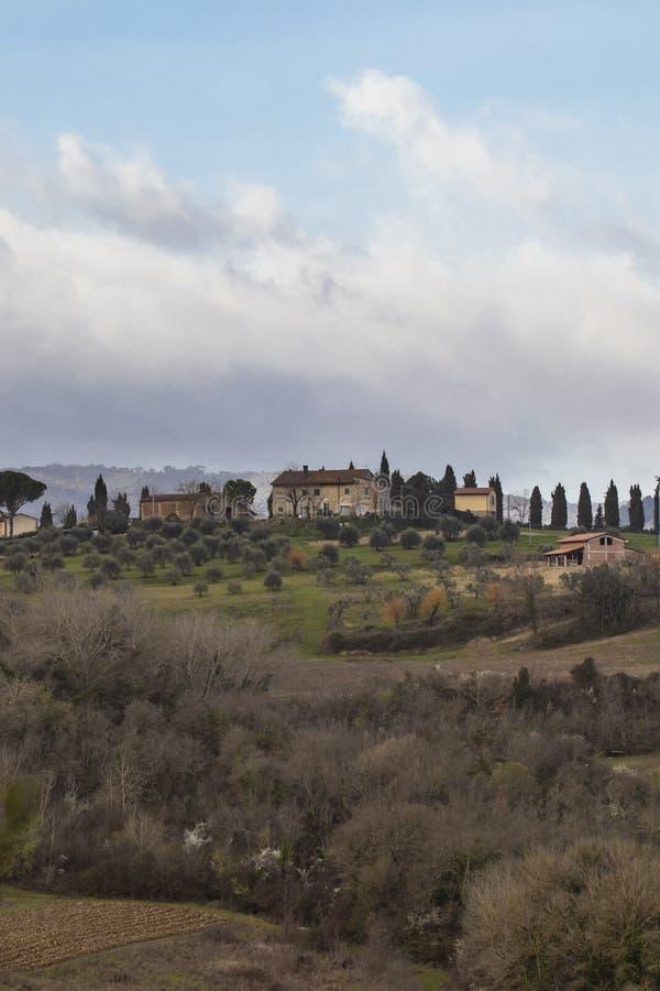 Campagne rurale de paysage de la Toscane de colline de forêt en Italie image stock