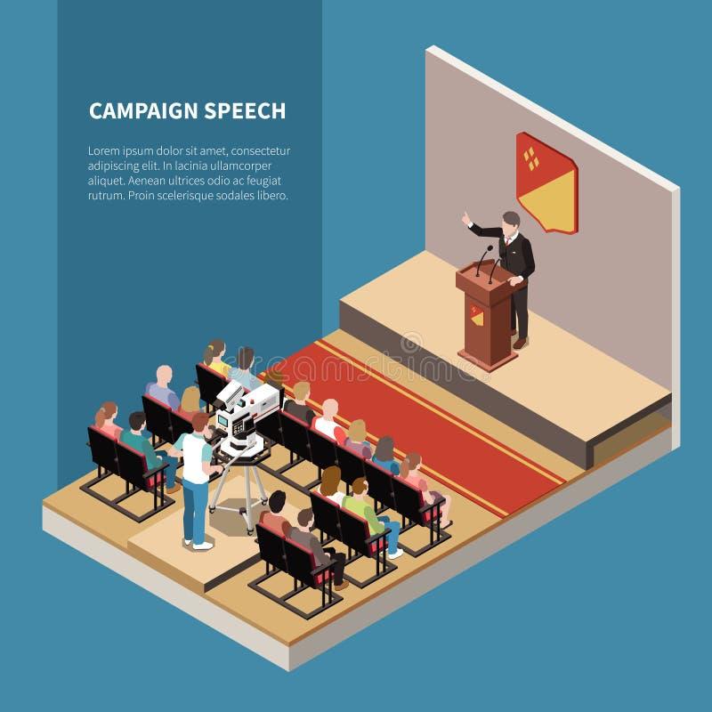 Campagne Toespraak Isometrische achtergrond stock illustratie