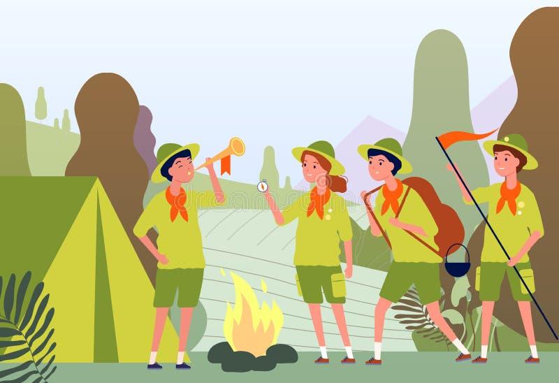 Campagnebeelden Campfire in forest en gelukkige kinderen in een uniform, in open lucht, vectoravontuur vlak concept vector illustratie