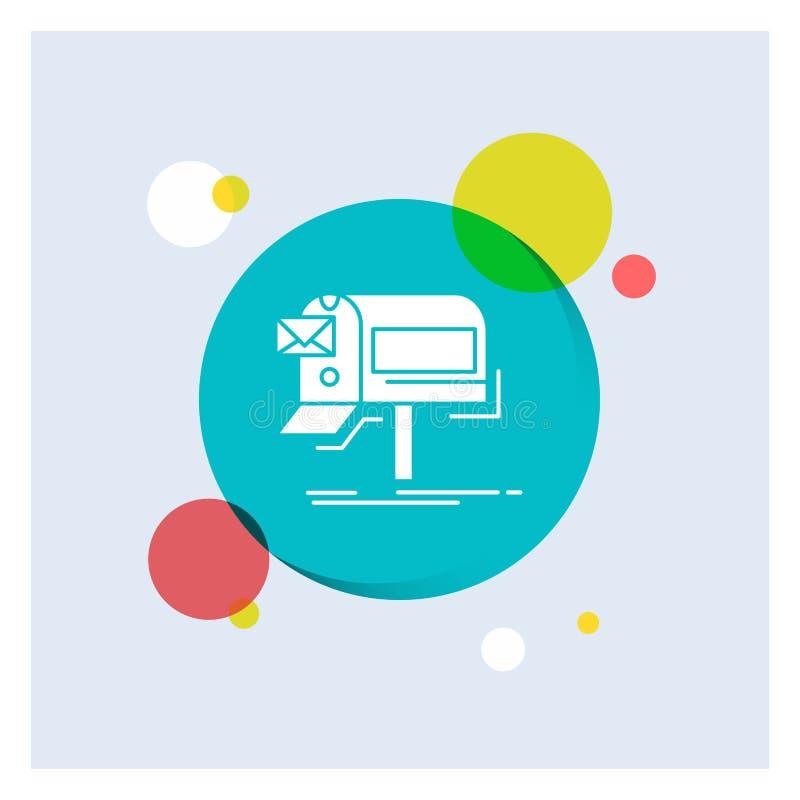 campagnes, email, vente, bulletin d'information, fond coloré de cercle d'icône blanche de Glyph de courrier illustration libre de droits