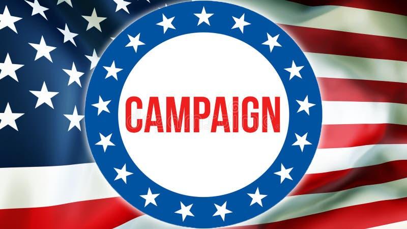Campagneverkiezing op een achtergrond van de V.S., het 3D teruggeven De vlag die van de Verenigde Staten van Amerika in de wind g royalty-vrije stock foto