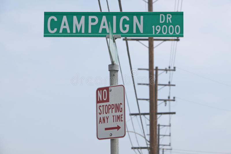 Campaign Drive street sign with No Stopping Anytime sign, CSU- Dominguez Hills, Los Angeles, CA royalty free stock photo