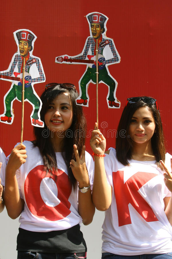 Campaigning for president cadindate. People campaigning for Indonesia presidential candidate , at city of Solo, Central Java, Indonesia royalty free stock photo