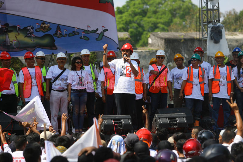 Campaigning for president cadindate. People campaigning for Indonesia presidential candidate , at city of Solo, Central Java, Indonesia stock photo