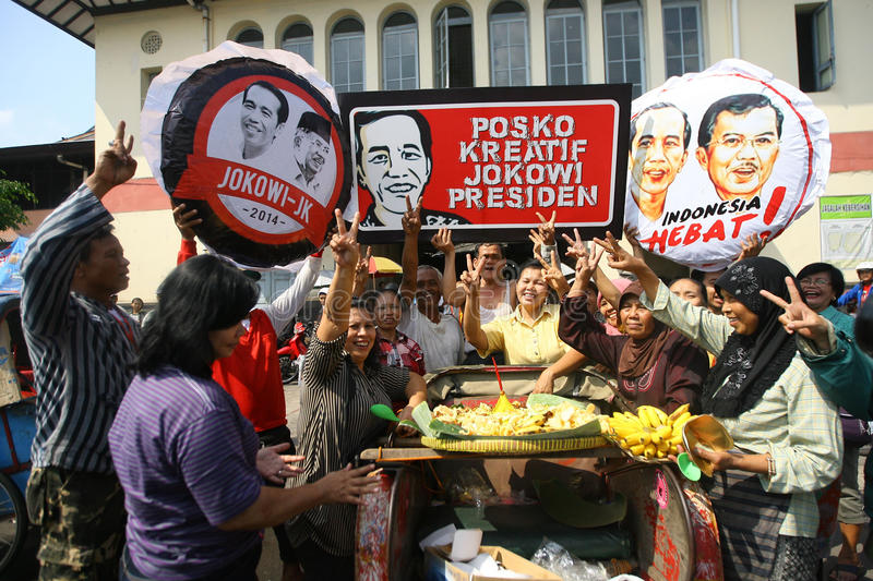 Campaigning for president cadindate. People campaigning for Indonesia presidential candidate , at city of Solo, Central Java, Indonesia stock image