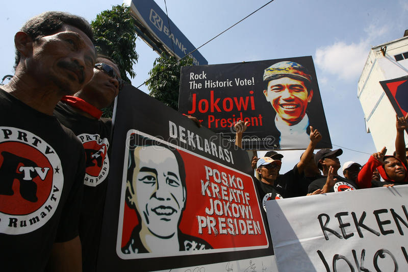 Campaigning for president cadindate. People campaigning for Indonesia presidential candidate Joko Widodo in Solo, Central Java, Indonesia stock photography