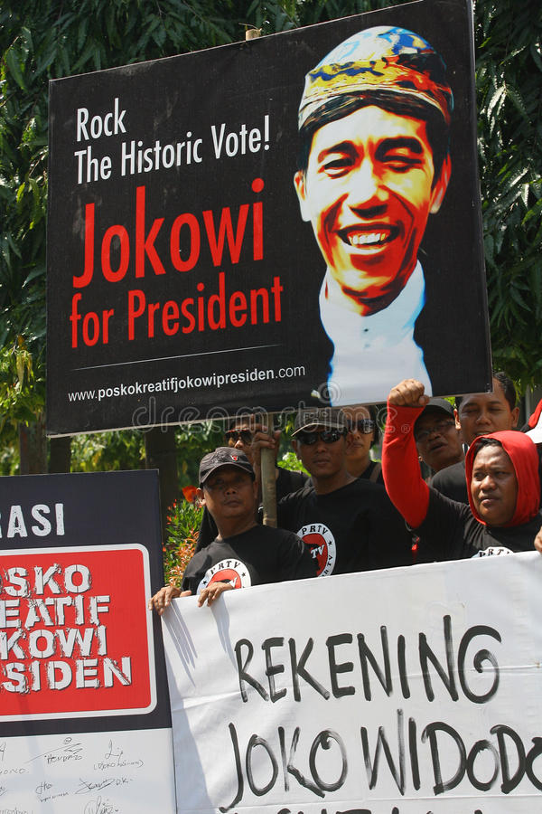 Campaigning for president cadindate. People campaigning for Indonesia presidential candidate Joko Widodo in Solo, Central Java, Indonesia stock image