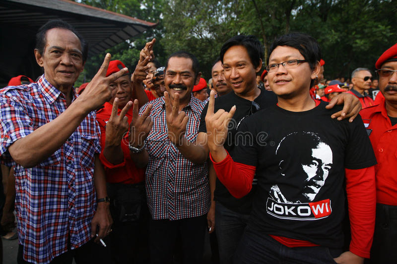 Campaigning for president cadindate. Supporters of Presidential candidate Indonesia Joko Widodo campaigning in the city of Solo, Central Java, Indonesia stock photography