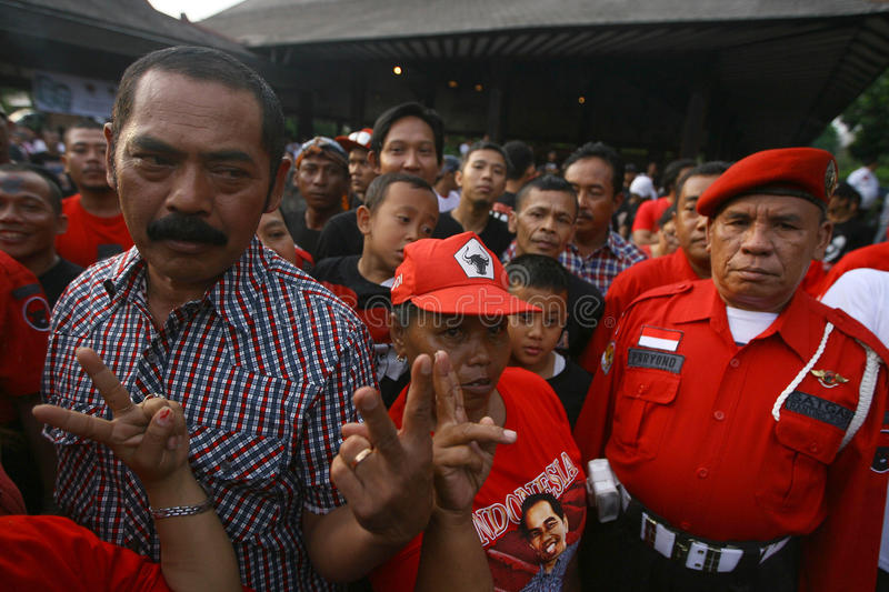 Campaigning for president cadindate. Supporters of Presidential candidate Indonesia Joko Widodo campaigning in the city of Solo, Central Java, Indonesia stock photos