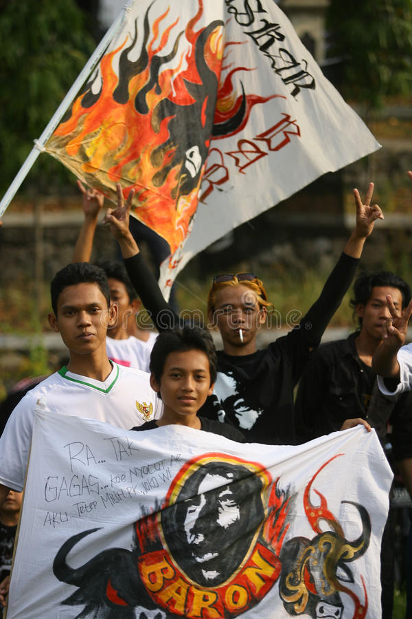 Campaigning for president cadindate. Supporters of Presidential candidate Indonesia Joko Widodo campaigning in the city of Solo, Central Java, Indonesia stock image