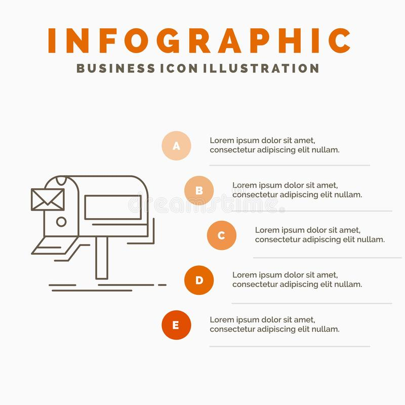Campaigns, email, marketing, newsletter, mail Infographics Template for Website and Presentation. Line Gray icon with Orange. Infographic style vector vector illustration