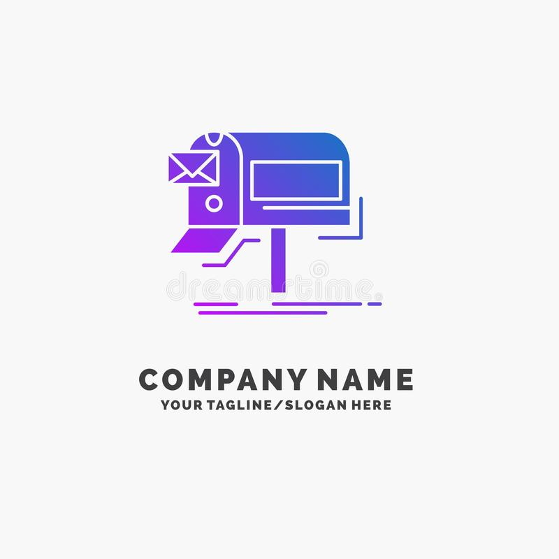 Campaigns, email, marketing, newsletter, mail Purple Business Logo Template. Place for Tagline. Vector EPS10 Abstract Template background stock illustration