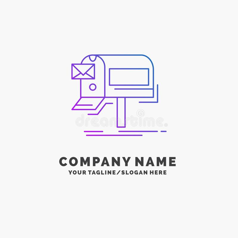 Campaigns, email, marketing, newsletter, mail Purple Business Logo Template. Place for Tagline. Vector EPS10 Abstract Template background vector illustration