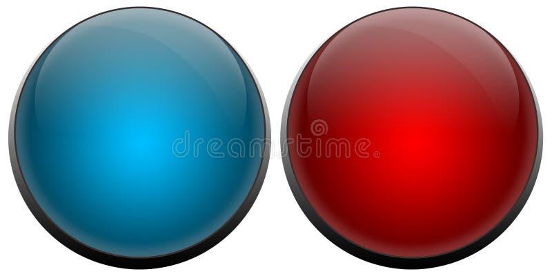A campainha elétrica abotoa o vermelho e o azul ilustração royalty free