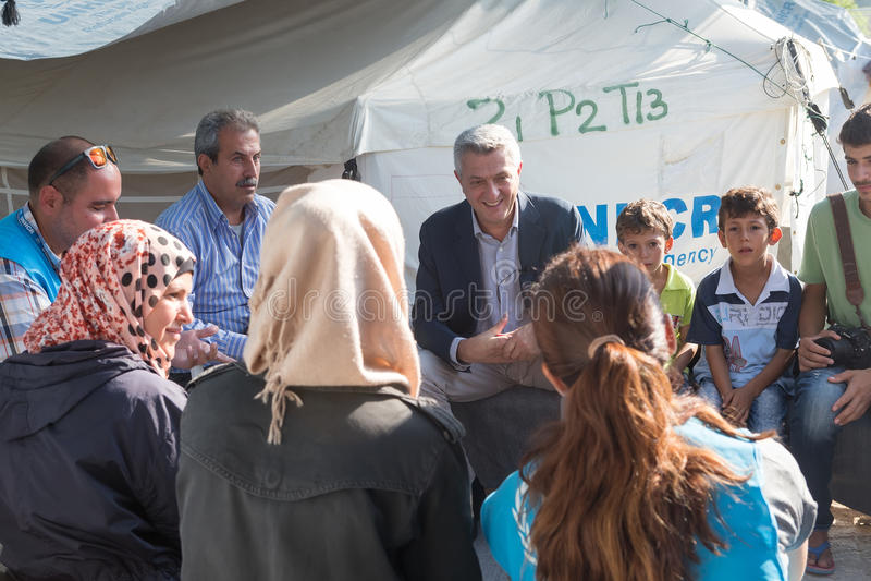 Campamento de refugiados de Lagadikia, Grecia imagen de archivo
