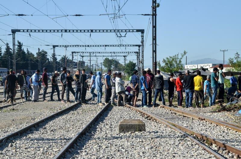 Campamento de refugiados sirio de Idomeni, cerca de la frontera Griego-macedónica La crisis migratoria europea Ruta balcánica imagenes de archivo