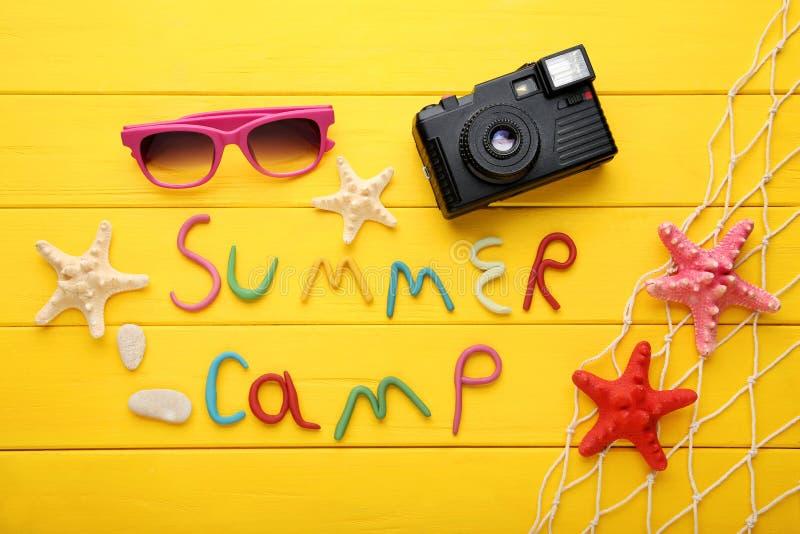 Campamento de verano de la inscripción fotografía de archivo