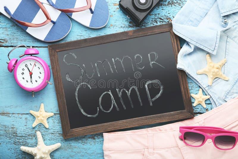 Campamento de verano de la inscripción foto de archivo