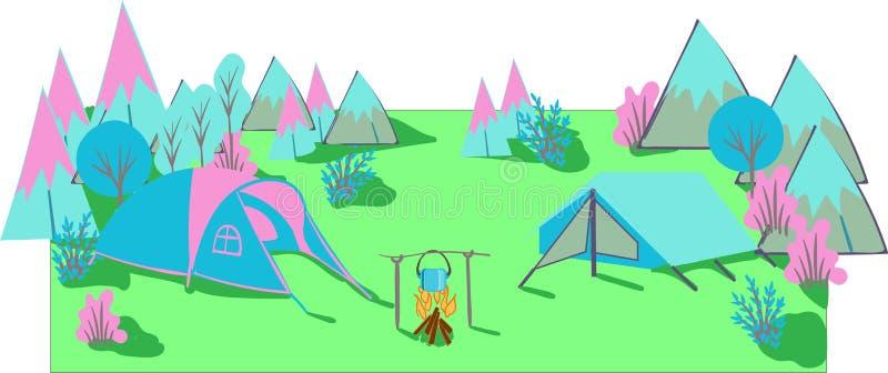 Campamento de verano Paisaje de la fauna con las tiendas El acampar y turismo Ilustraci?n del vector ilustración del vector