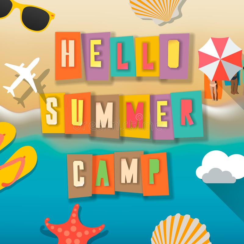 Campamento de verano para los niños cartel, actividades al aire libre en la niñez feliz de la playa, vector del ` s del niño del  stock de ilustración