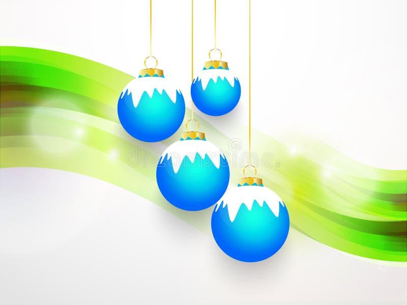 Campana blu con neve bianca e fondo verde fotografia stock