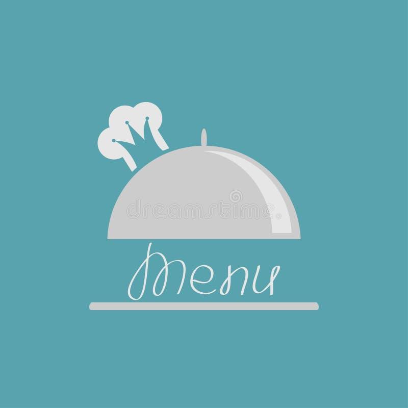 Campana de cristal de plata del disco con la corona del sombrero del cocinero menú libre illustration