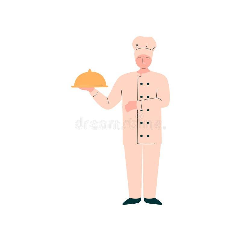 Campana de cristal masculina del disco de Holding Metal Food del cocinero, carácter profesional de Kitchener en vector delicioso  stock de ilustración