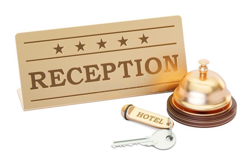 Campana de la llave y de la recepción del hotel con la placa de la recepción, representación 3D stock de ilustración