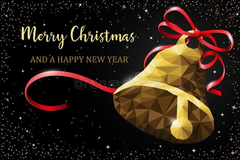Campana de la Navidad con vector de la tarjeta del polígono de la cinta ilustración del vector