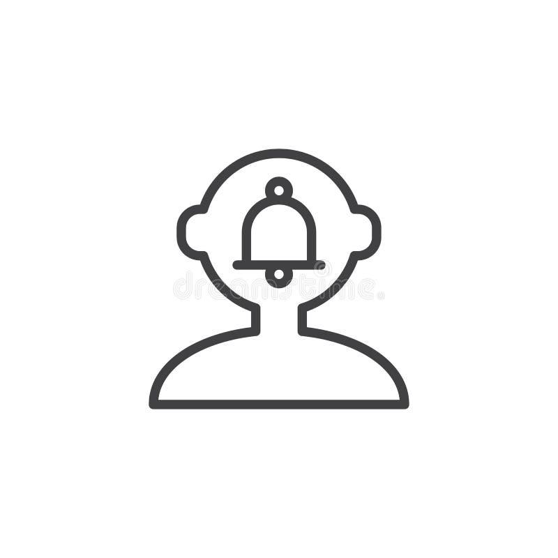 Campana de la notificación en icono principal humano del esquema stock de ilustración