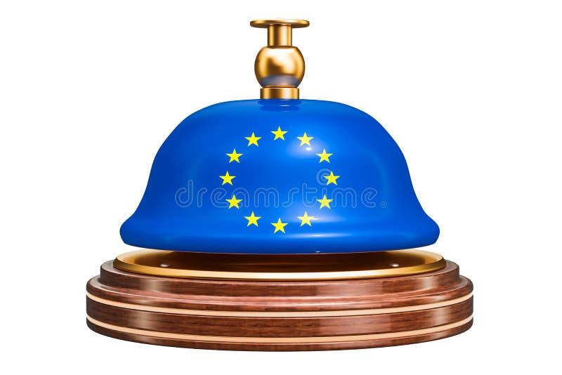 Campana de la recepción con la bandera de unión europea, concepto del servicio 3d ren libre illustration