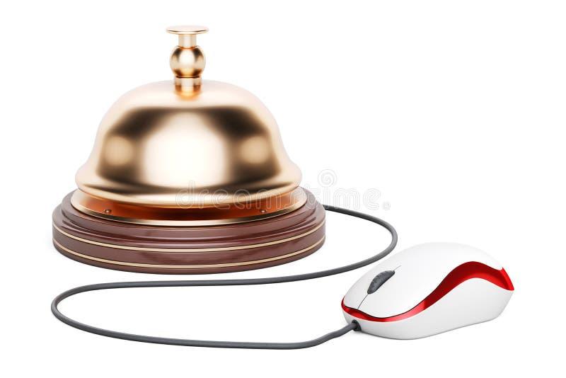 Campana de la recepción con el ratón del ordenador La reservación de hotel en línea, 3D ren stock de ilustración