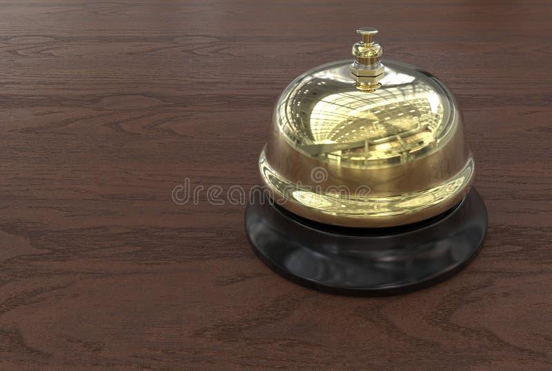 Campana de llamada en la recepción del hotel fotografía de archivo