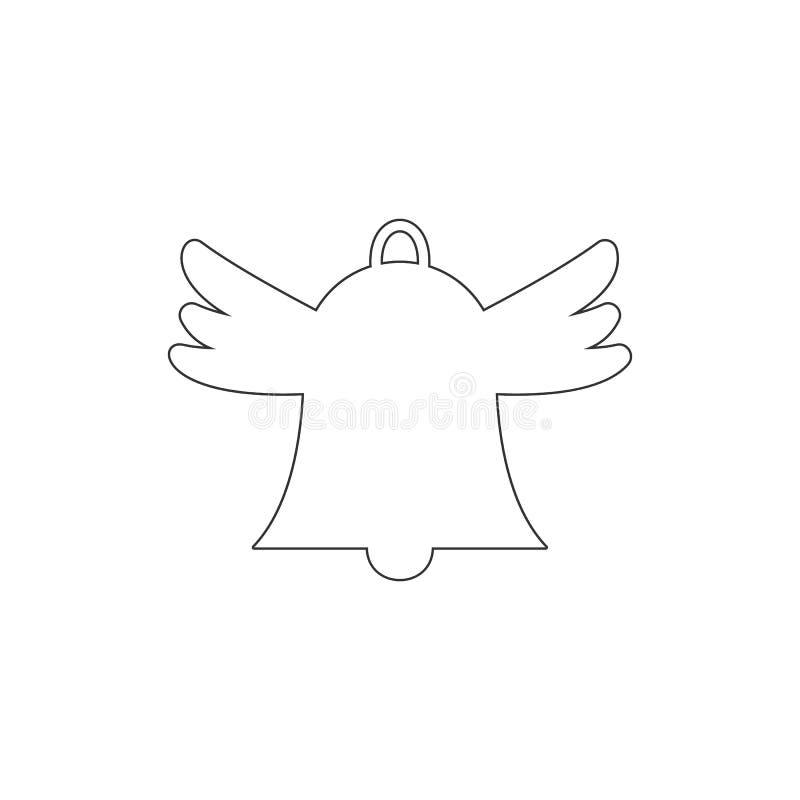 Campana de mano con el icono del esquema de las alas E Las muestras y los s?mbolos se pueden utilizar para la web, logotipo, app  stock de ilustración