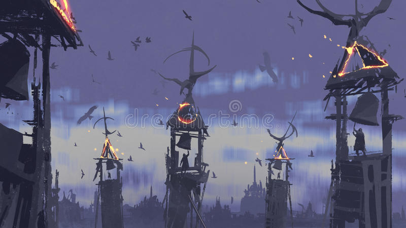 Campana de sonido de la gente en torre contra los pájaros que vuelan en el cielo stock de ilustración